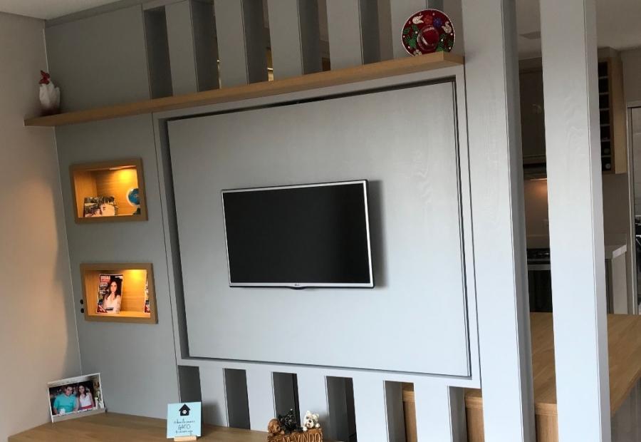 Tendència - Cozinha Cinza com Painel Giratório de TV - parte 2